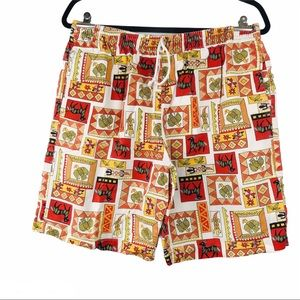 African printed  hippie men's short / beige & red